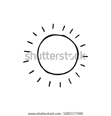 Cute cartoon hand drawn sun drawing. Sweet vector black and white sun drawing. Isolated monochrome doodle sun drawing on white background.