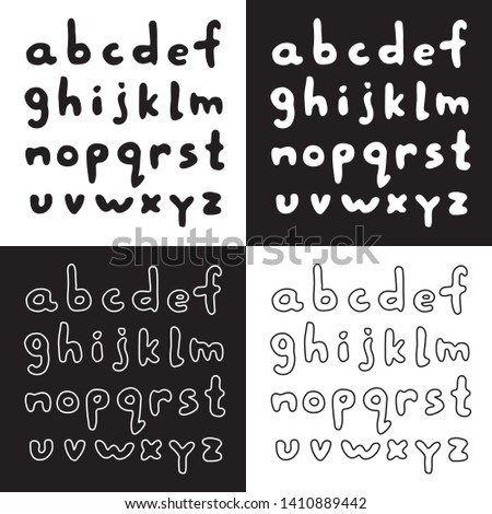 Cute cartoon handwritten english alphabet set with lowercase bold comic letters. Sweet vector black and white handwritten english alphabet set. Isolated monochrome handwritten english alphabet set.