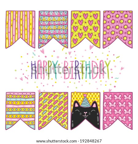 cute cartoon happy birthday holiday flags with cat