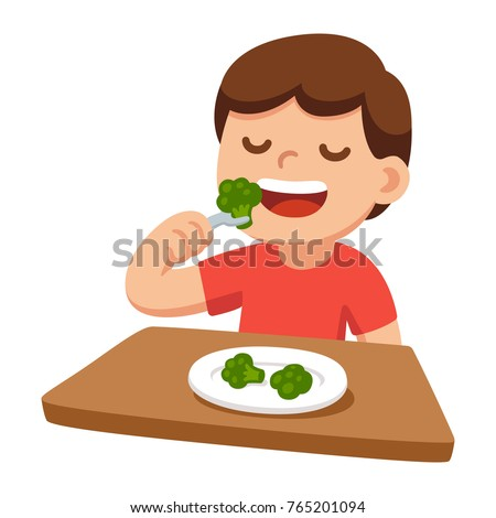Cute cartoon happy boy eating broccoli. Healthy vegetable food and children vector illustration.