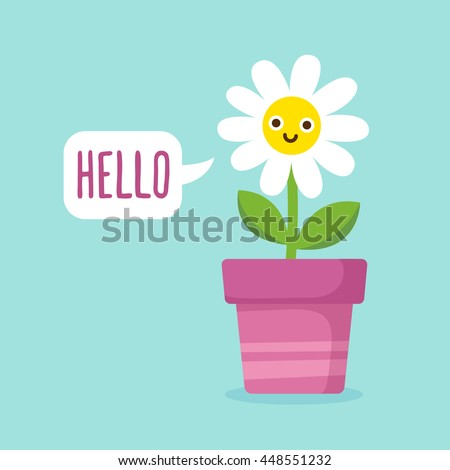 cute cartoon happy flower with
