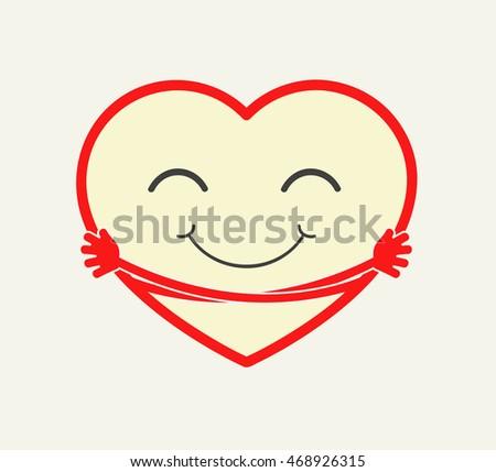 cute cartoon heart hugging