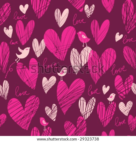 Cute cartoon hearts vector seamless pattern in popular pink color