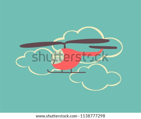 Cute cartoon helicopter. Colorful flat vector Illustration.