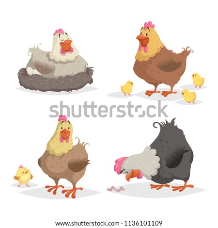 Cute cartoon hens set. Clockinh hen, mother with chickens, looking on wotm. Farm animals vector illustrations isolated on white background.