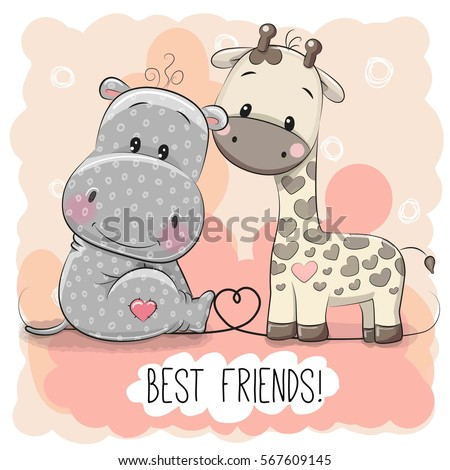 Cute Cartoon Hippo and Giraffe on a pink background