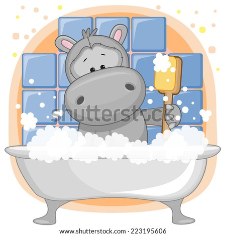 cute cartoon hippo in the