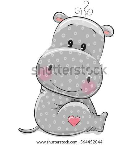 Cute Cartoon Hippo isolated on a white background