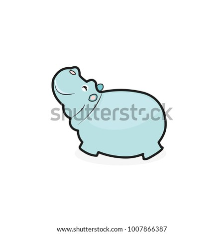 Cute Cartoon Hippo on a white background