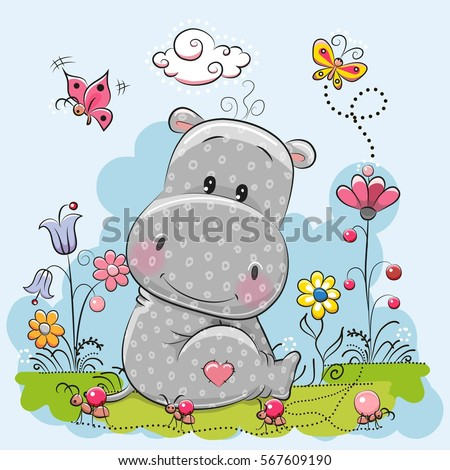 Cute Cartoon Hippo with flowers and butterflies on a meadow