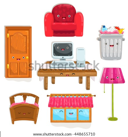 cute cartoon home objects. Chair, table, desk, trash bin, lamp, computer, bed, window and door.