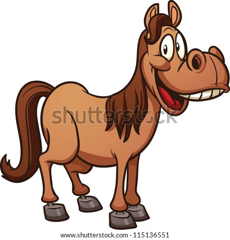 Cute Cartoon Horse Clip Art Vector Illustration With Simple Gradients All In A Single