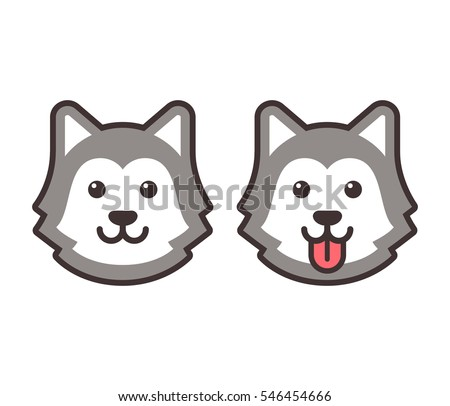 cute cartoon husky dog head