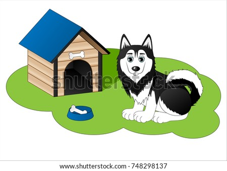 cute cartoon husky next to dog