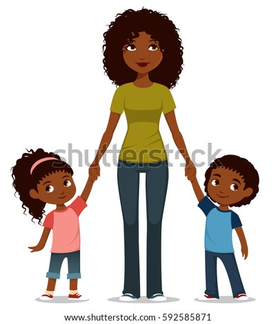 cute cartoon illustration of an African American mother with two kids