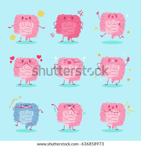 cute cartoon intestine with