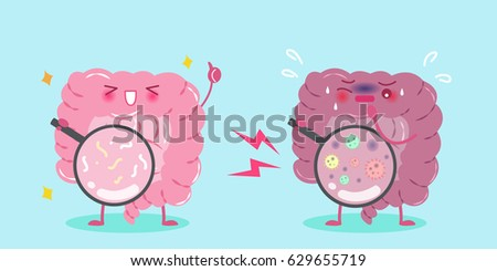 cute cartoon intestine with healthy concept on blue background