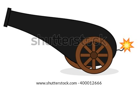 cute cartoon isolated cannon...