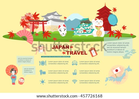 cute cartoon japan element and