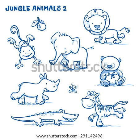 cute cartoon jungle safari