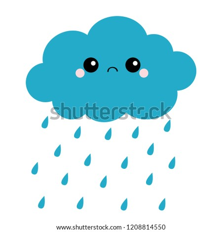 Cute cartoon kawaii dark cloud with rain drops. Sad face emotion. Eyes and mouth. Isolated. White background. Baby character collection. Funny illustration. Flat design. Vector illustration