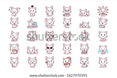cute cartoon kawaii kittens set