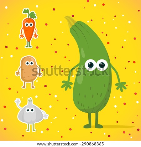 cute cartoon kawaii zucchini