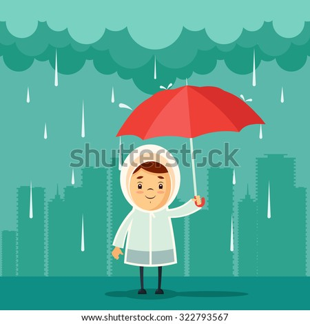 Cute Cartoon Kid with Umbrella Standing Under the Rain. Buildings Silhouettes on Background. Vector Illustration
