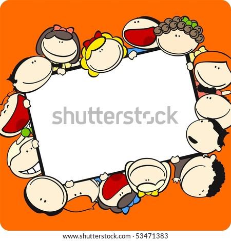 Cute cartoon kids frame
