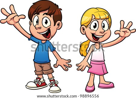 Cute cartoon kids waving hello vector illustration with simple