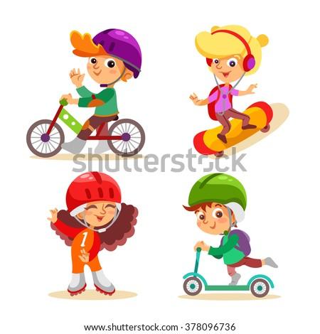 cute cartoon kids with various