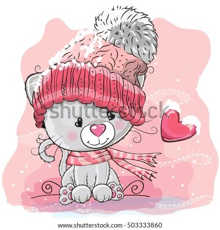 cute cartoon kitten in a