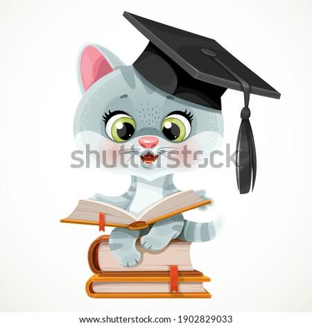 cute cartoon kitten wearing