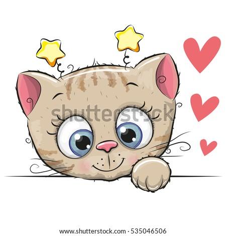 cute cartoon kitten with big