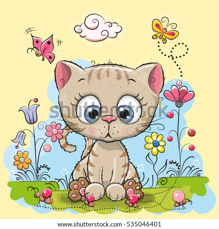 cute cartoon kitten with