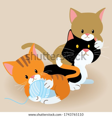 cute cartoon kittens playing