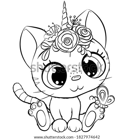 Cute Cartoon Kitty unicorn outlined for coloring book isolated on a white background