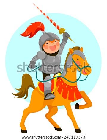 cute cartoon knight riding his