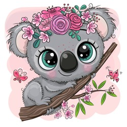 Cute Cartoon Koala with flowers on a tree on a pink background