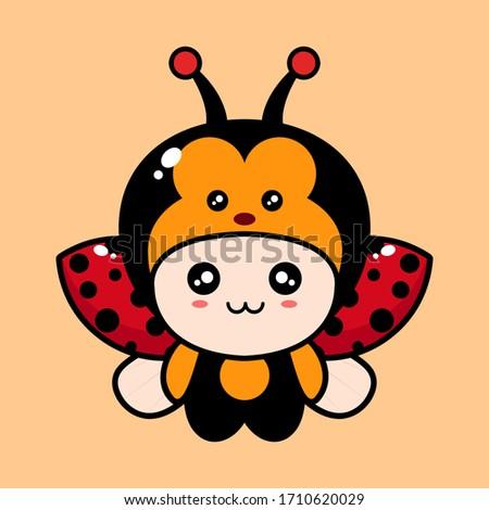 cute cartoon ladybug vector