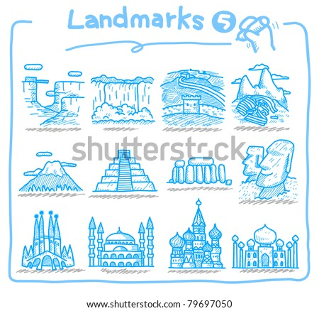 Cute cartoon Landmarks icon,Hand drawn