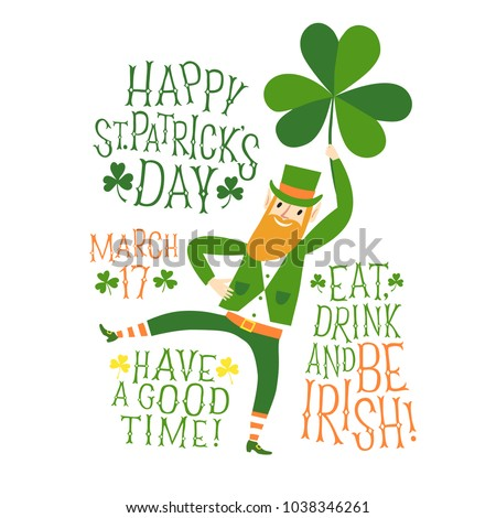 cute cartoon leprechaun dancing ...