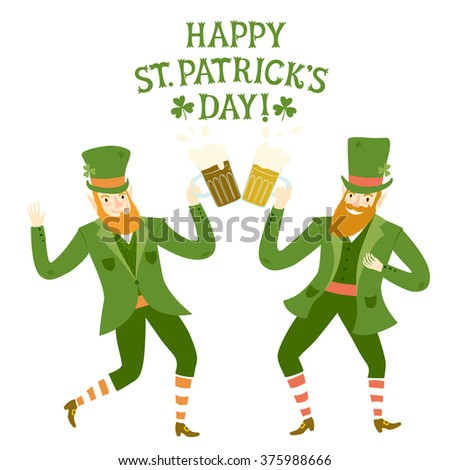 Cute cartoon leprechauns dancing and drinking beer. St. Patrick's Day ...