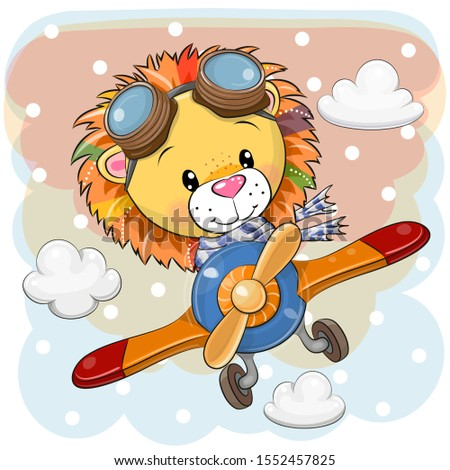 Cute Cartoon Lion is flying on a plane