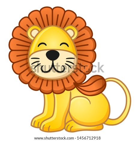 cute cartoon lion sitting and