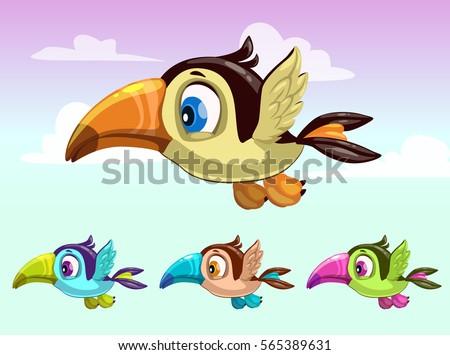 cute cartoon little flying bird