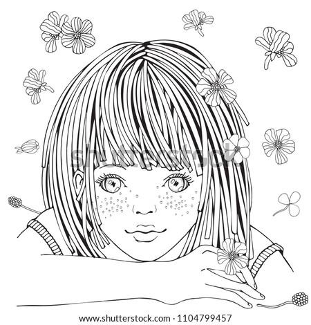 cute cartoon little girl and