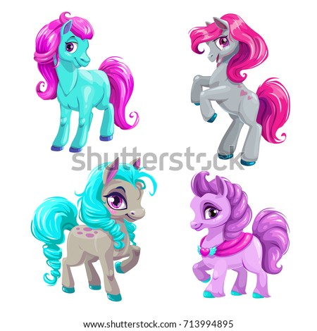 Cute cartoon little horses set. Isolated vector pony icons