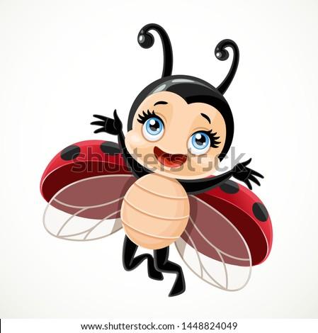 Cute cartoon little ladybug flying on a white background Сток-фото ©