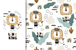 Cute cartoon little lion king character. Card and seamless pattern set. Hand drawn textile design illustration. Jungle animal. Fabric surface design.